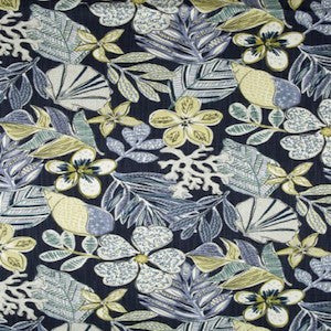 4 or 4.2 yards of Robert Allen Mixed Motif Fabric in Indigo