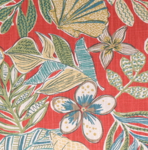 3 or 2.5 yards of Robert Allen Mixed Motif Fabric in Coral
