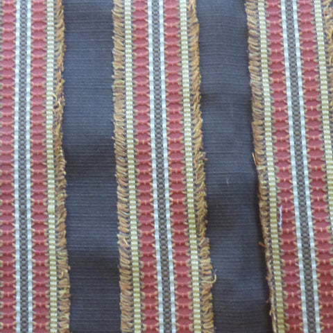 Ribbon Embellished Striped (Chocolate) Decorator Fabric, Upholstery, Drapery, Home Accent, Richloom,  Savvy Swatch