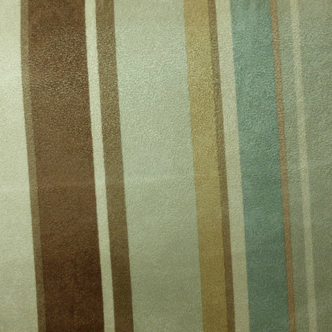 Greenhouse Seafoam, Cream, Tan and Brown Striped Sueded Microfiber, Upholstery, Drapery, Home Accent, Greenhouse,  Savvy Swatch