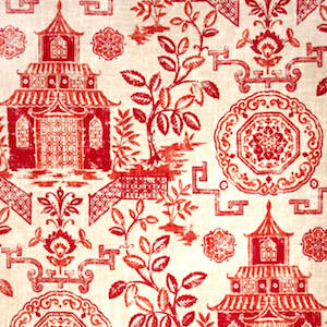 Richloom Teahouse Coral Designer Fabric, Upholstery, Drapery, Home Accent, TNT,  Savvy Swatch