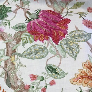 2.3 yards of Clarence House Jacobean Tree of Life Linen Fabric Orange/Pink