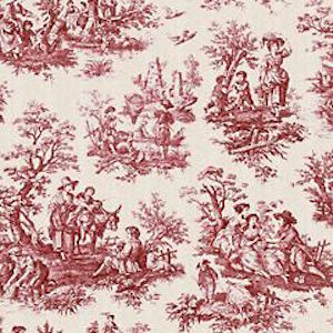 Greenhouse A9808 Garnet 1.8 yards  of Waverly Country Life Toile Garnet Decorator Fabric, Upholstery, Drapery, Home Accent, Carolina Decorative Fabrics,  Savvy Swatch