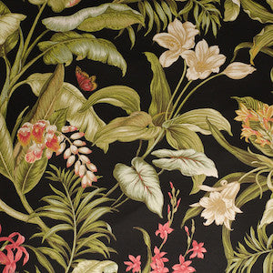 1.2 Yard Piece of Waverly Sun'n'Shade Indoor/Outdoor Wailea Coast Ebony Fabric