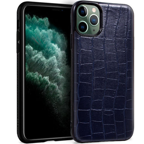 Carcasa iPhone 11 Pro Max Leather Crocodile Marino