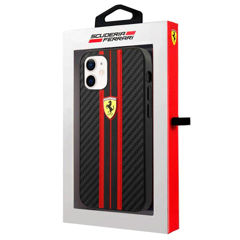 Carcasa iPhone 12 mini Licencia Ferrari Carbono Negro