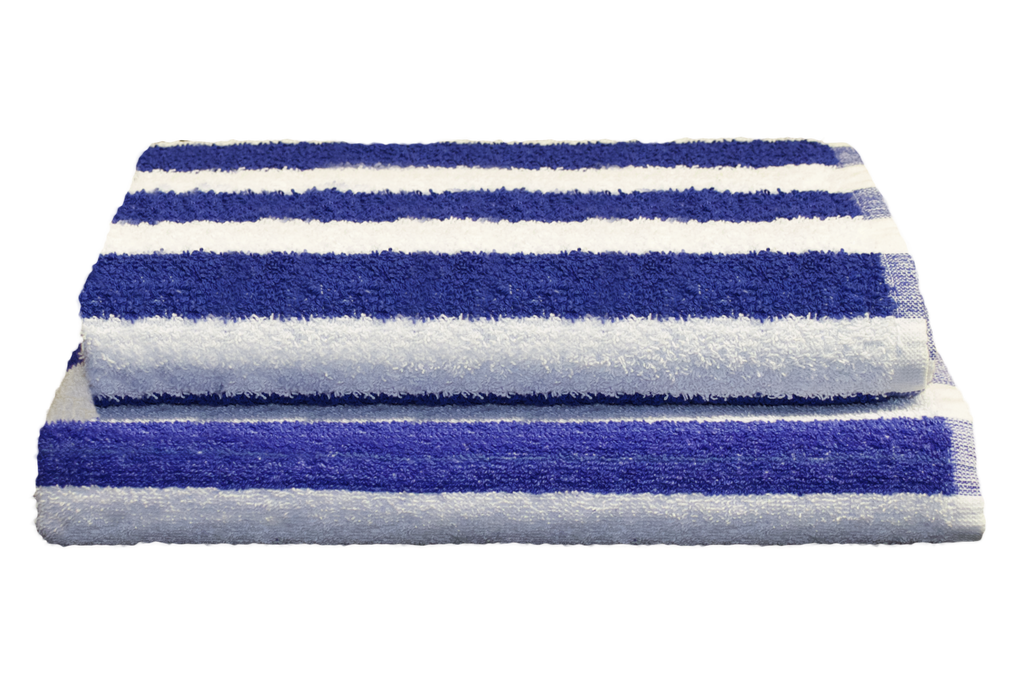 Splash Pool Towels 30x60 in Blue/White Cabana Stripe, 13 Lb.