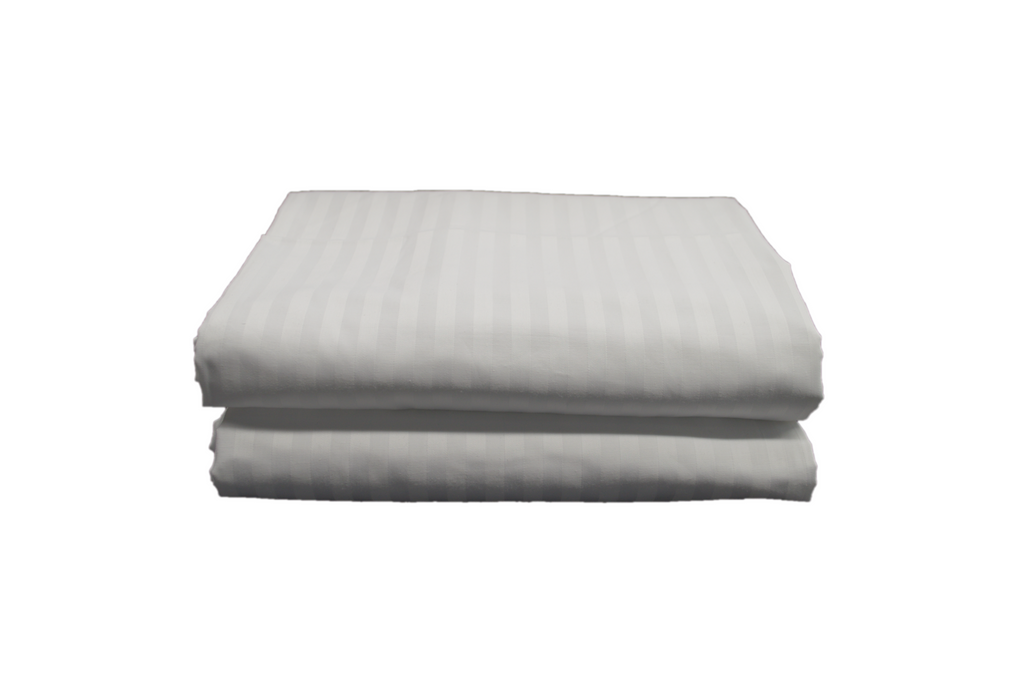 Orchid Dobby T-310 Flat Extra-Wide, Extra-Long Sheets Queen 96x120 in White W/ 1CM Striped