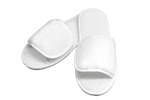 Regent Open Toe Slippers Terry Velour One Size Fits All in White