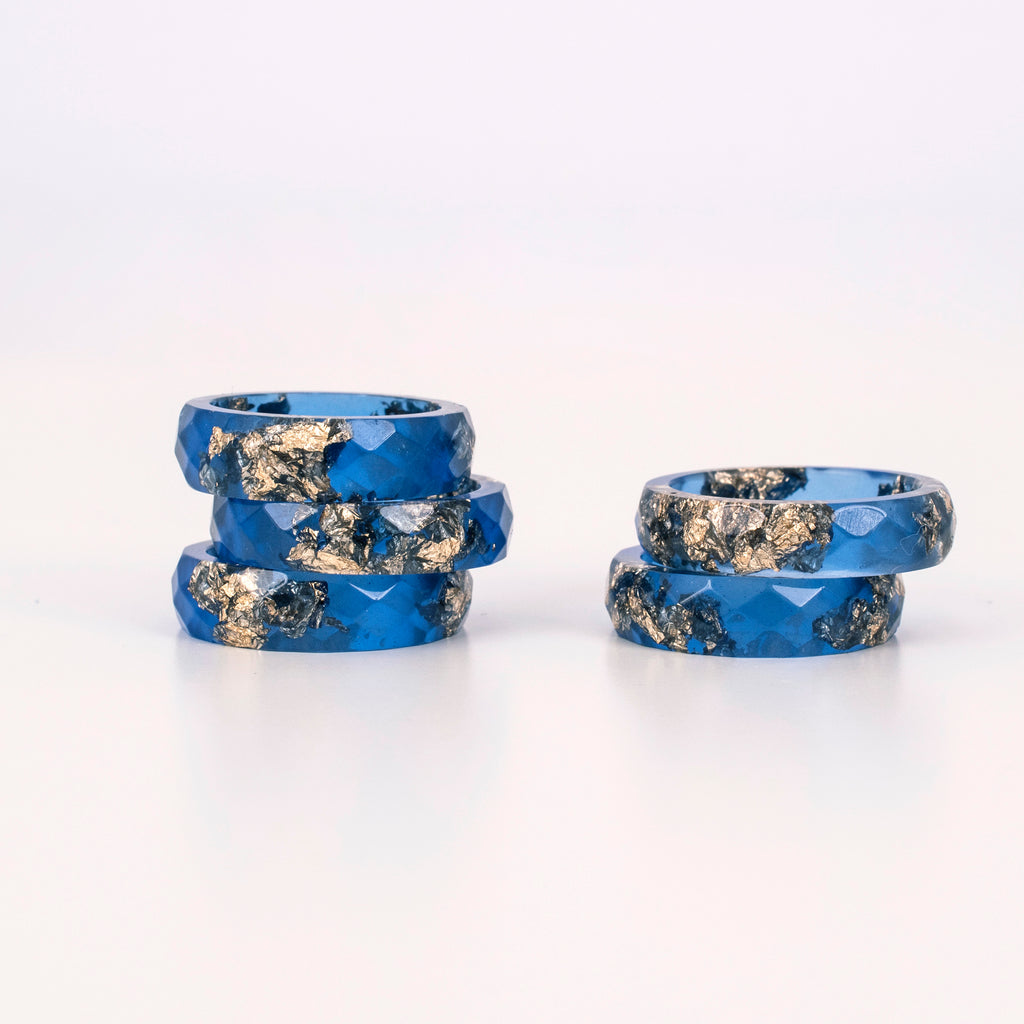 Deep Blue Ring With Gold Flakes