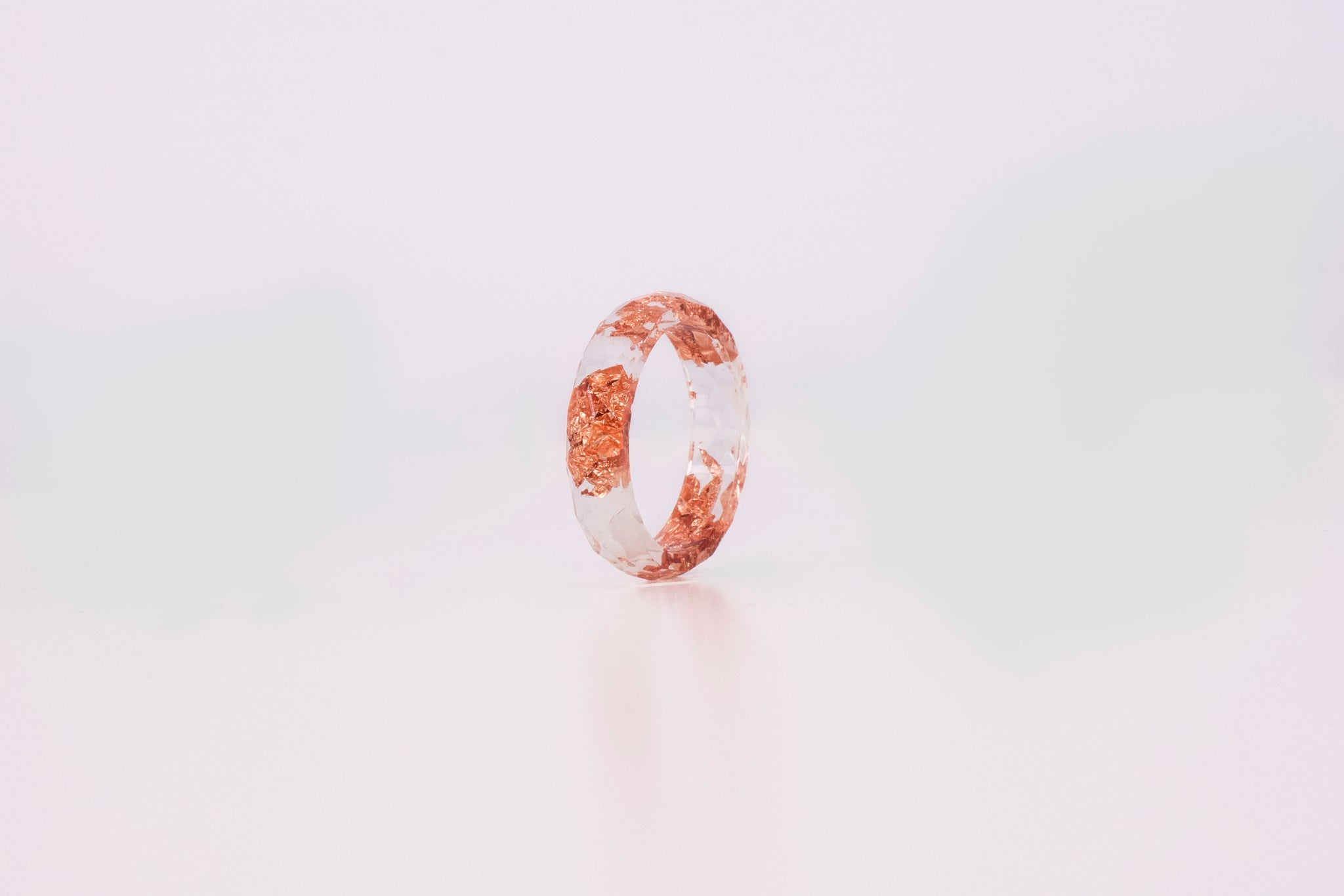 Transparent Ring With Copper Flakes