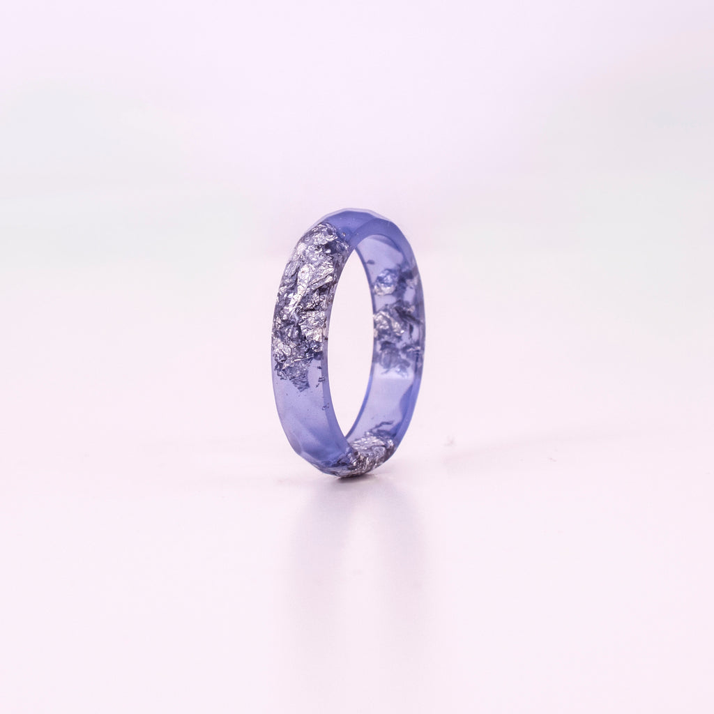 Lavender Ring with Silver Flakes