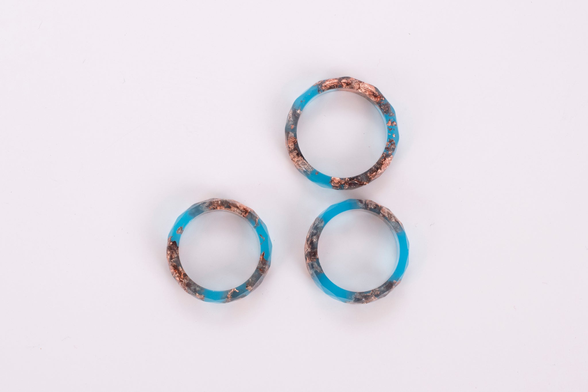 Blue Ring With Copper Flakes