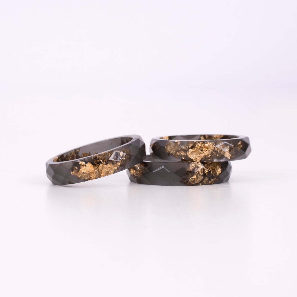Black Ring With Gold Flakes