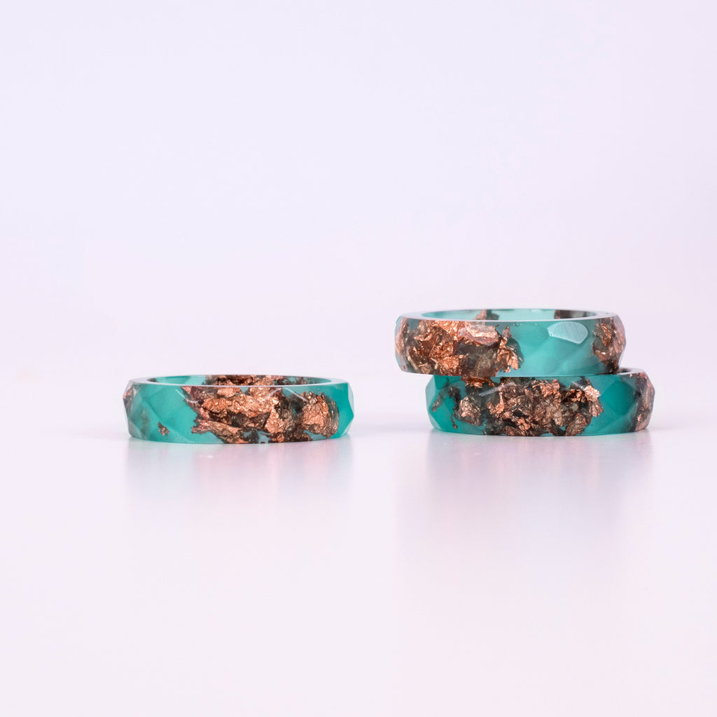 Emerald Ring With Copper Flakes