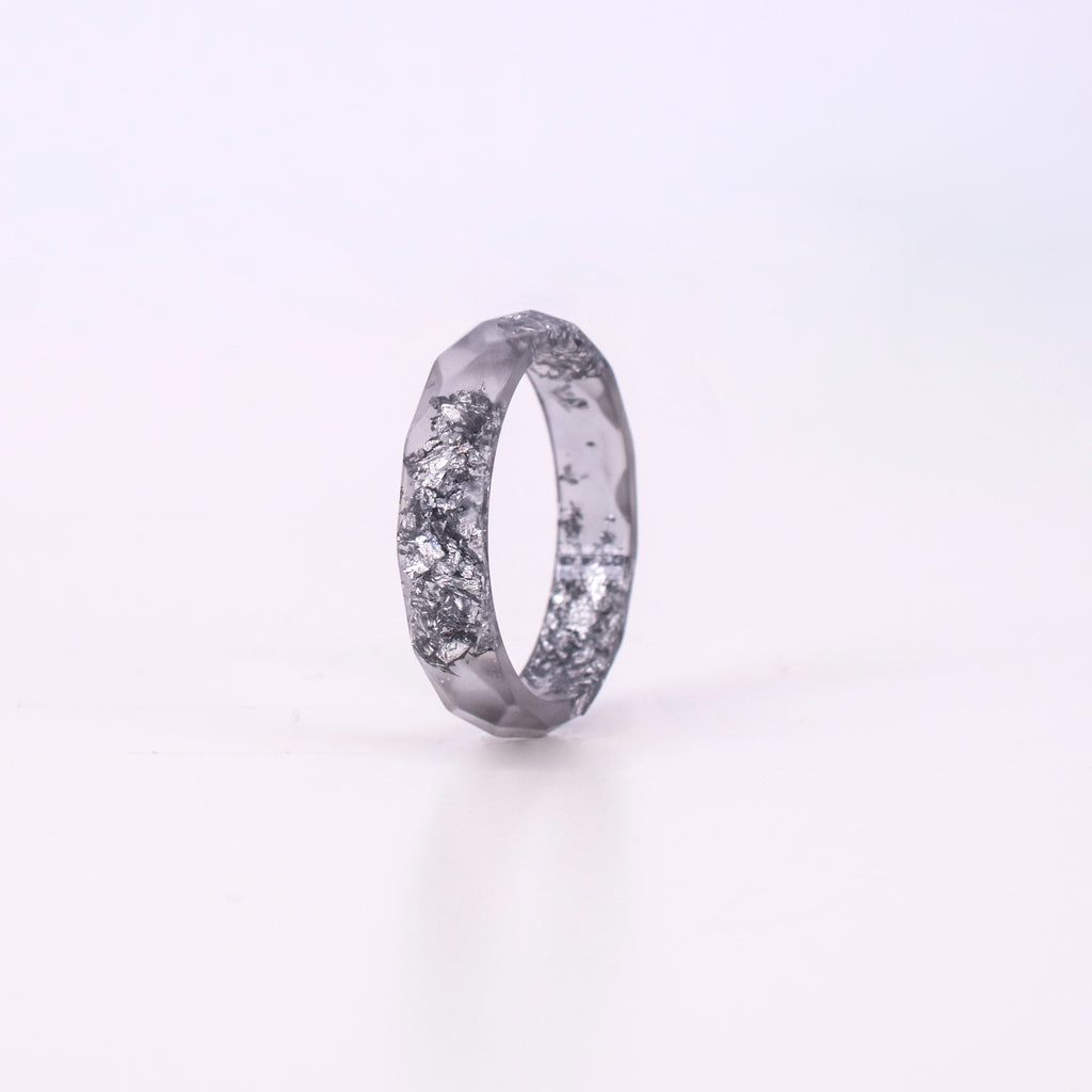 Grey Ring With Silver Flakes