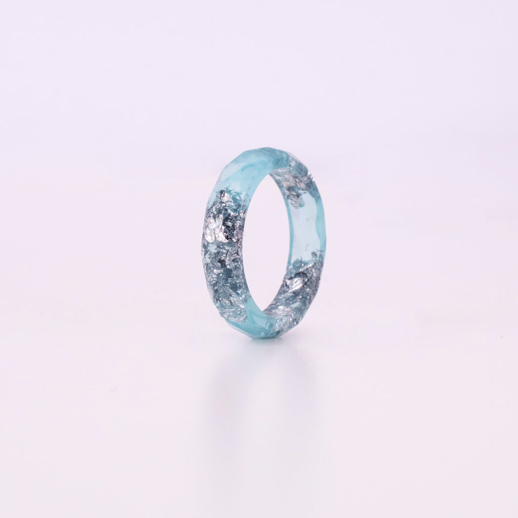 Light Blue Ring With Silver Flakes