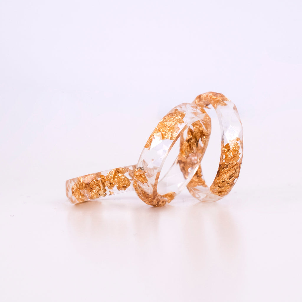 Transparent Ring With Gold Flakes