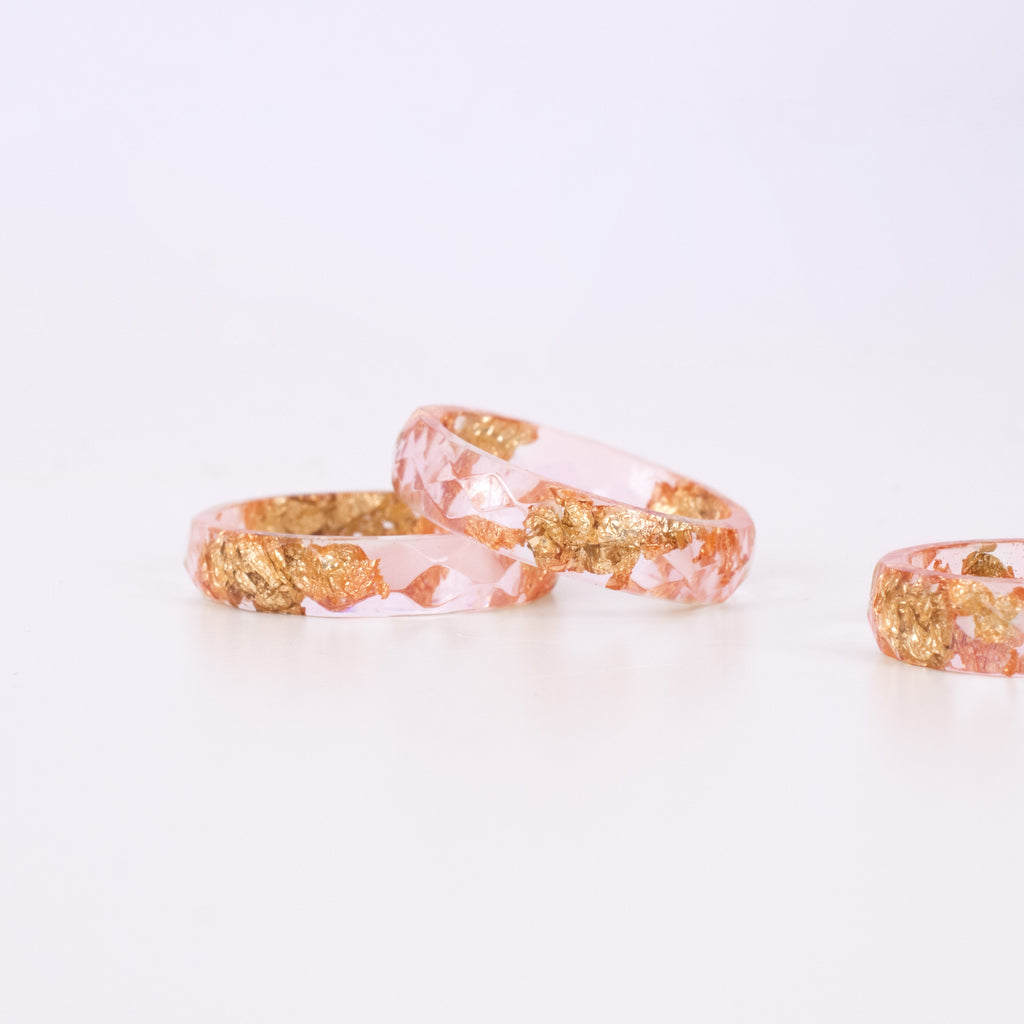 Pink Ring with Gold Flakes