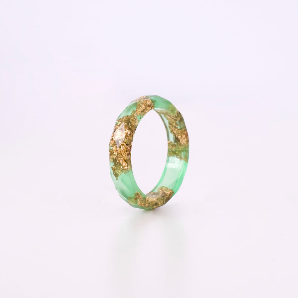 Light Green Ring with Gold Flakes