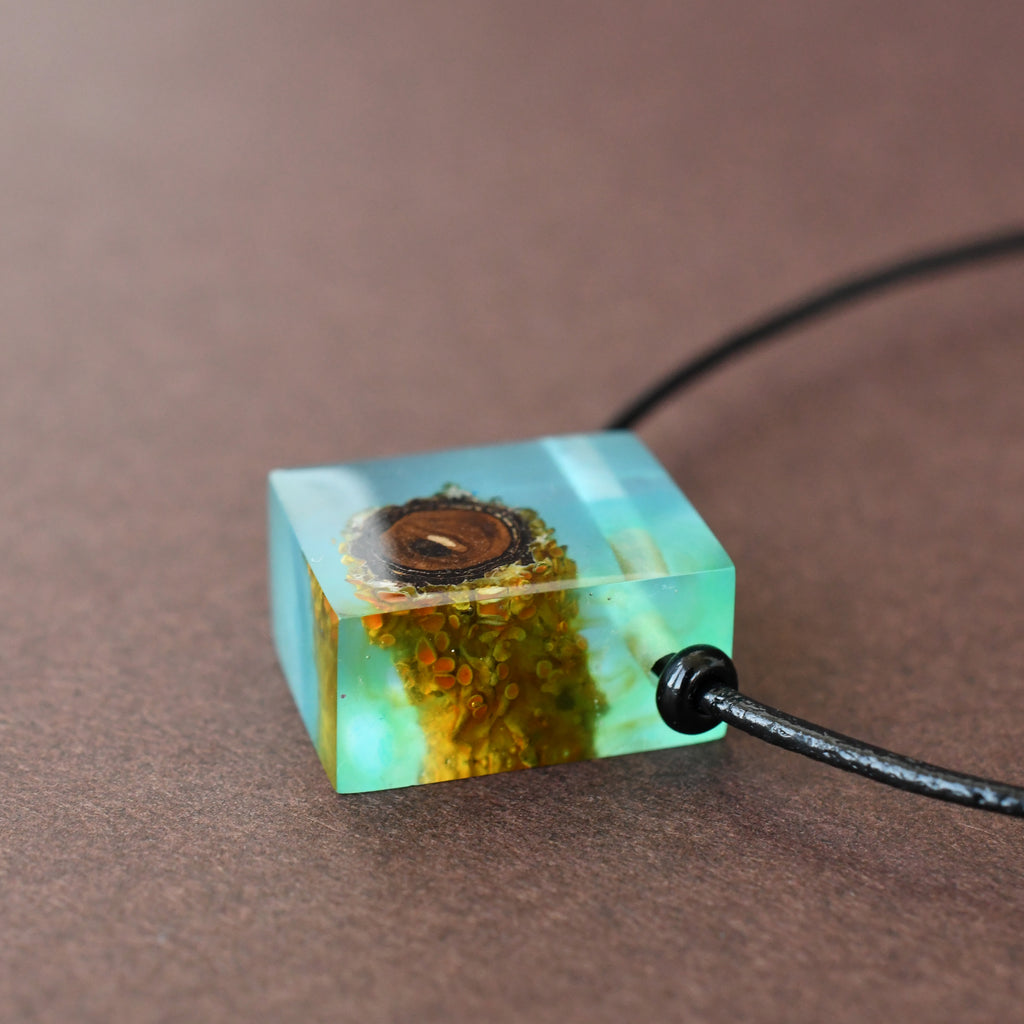 Recycled Wood Pendant in Resin