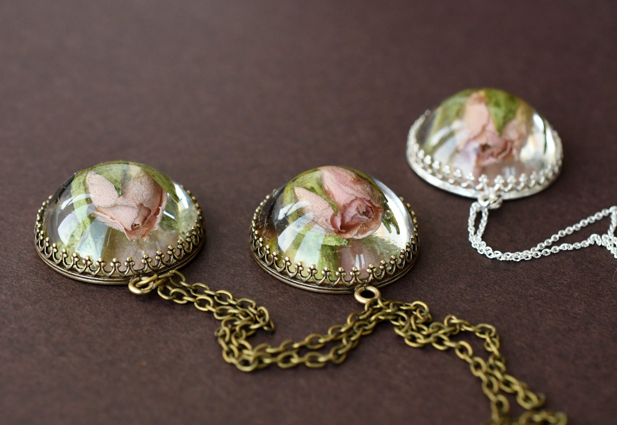 Light Pink Rose Crown Pendant