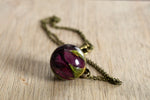 Deep Purple Rosebud Necklace