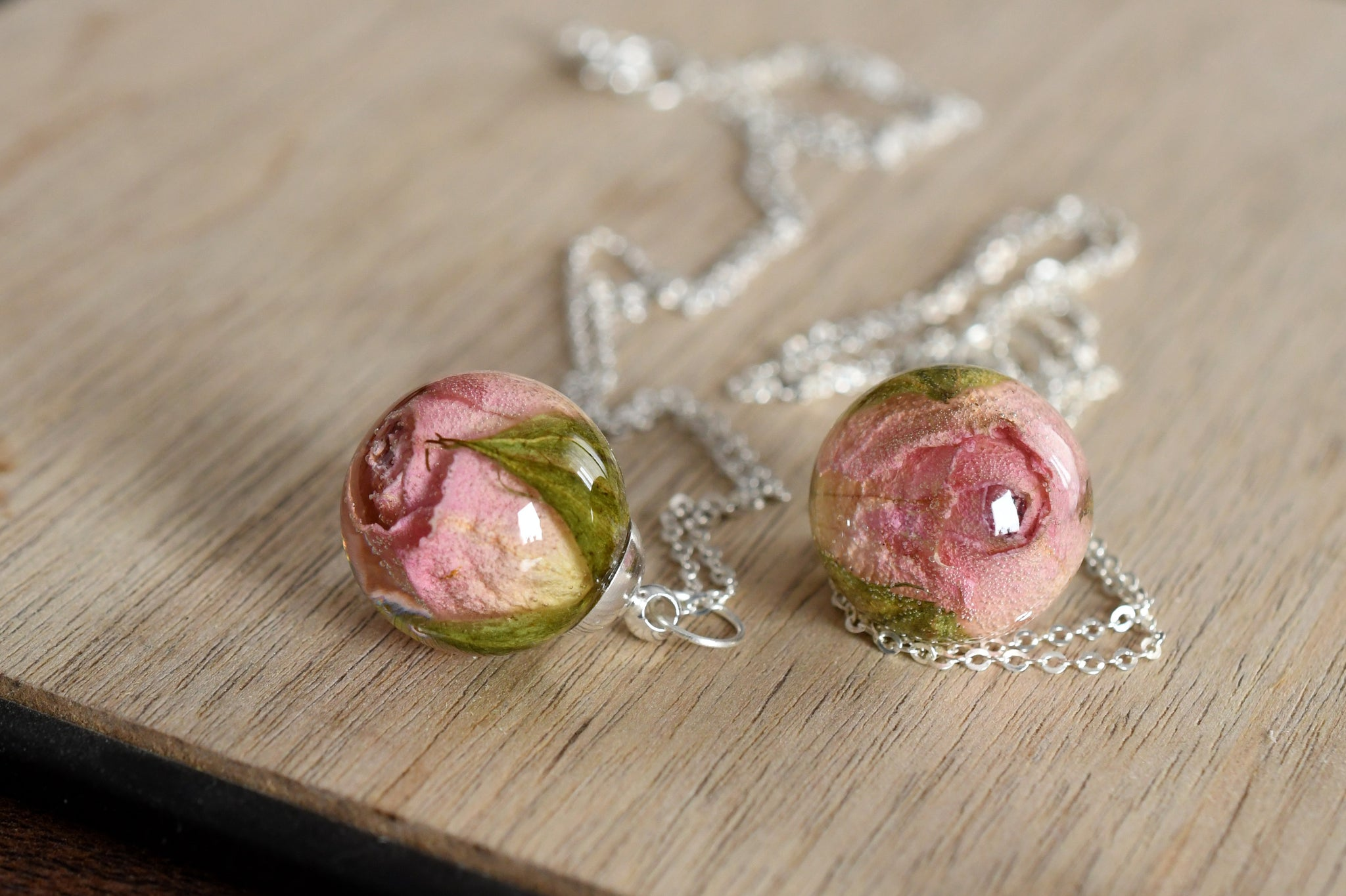 Small Light Pink Rosebud Necklace