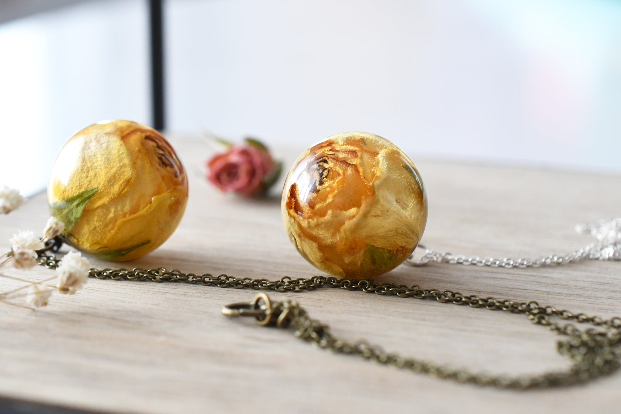 Big Yellow Rose Necklace