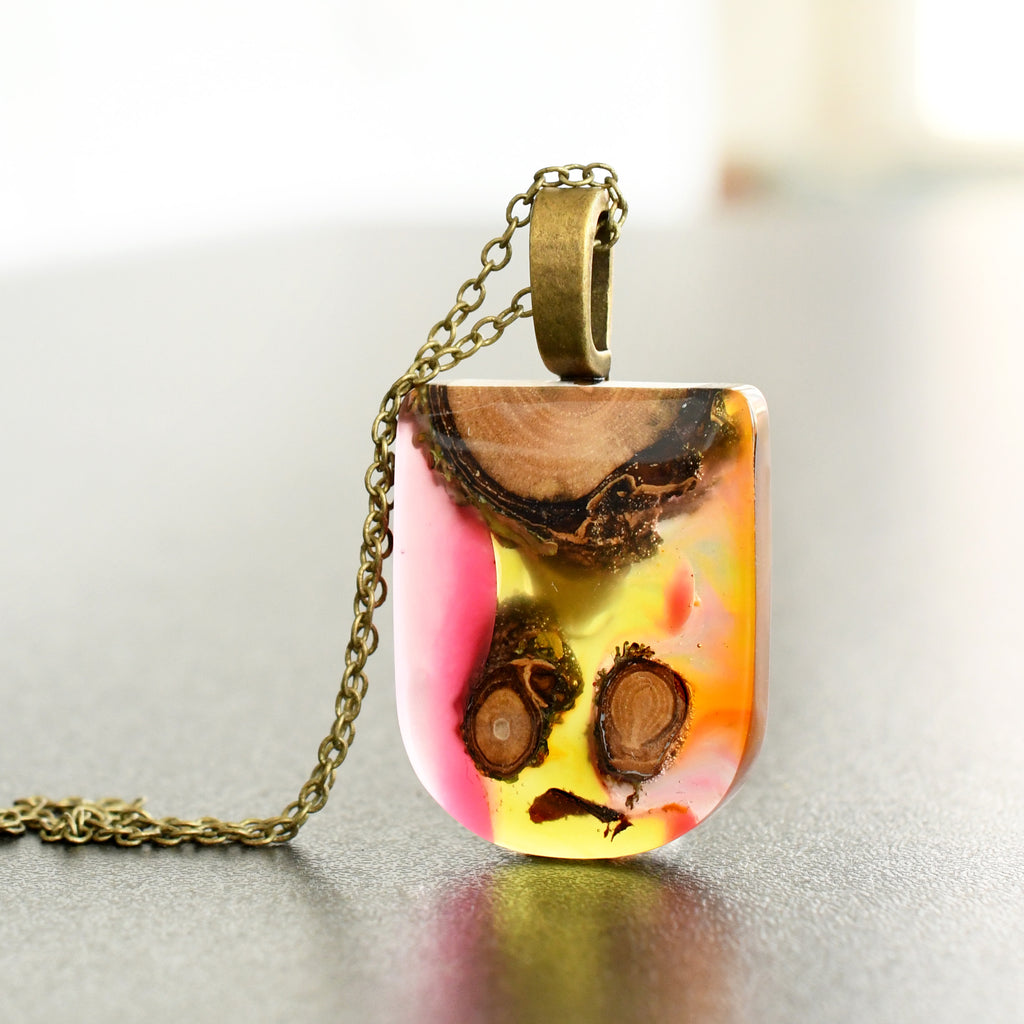 Shades of Pink Resin Pendant