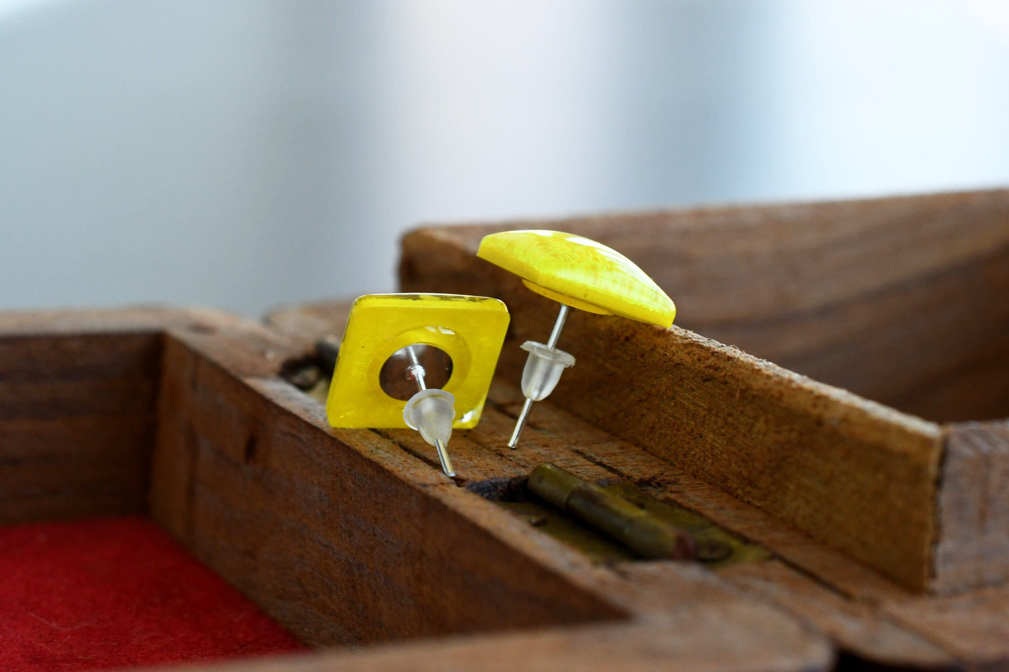 Yellow Resin Ink Stud Earrings