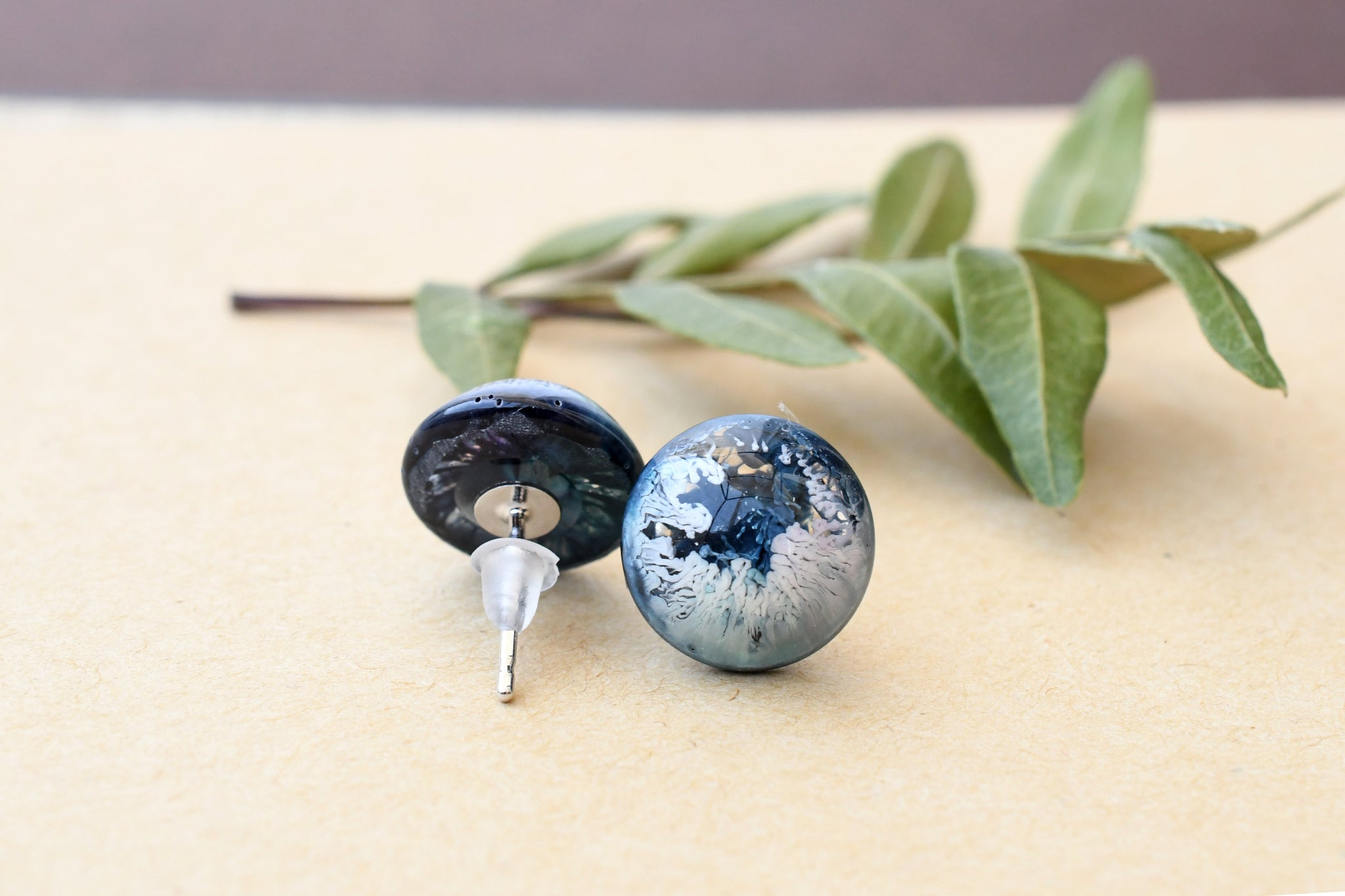 Deep Blue Post Earrings