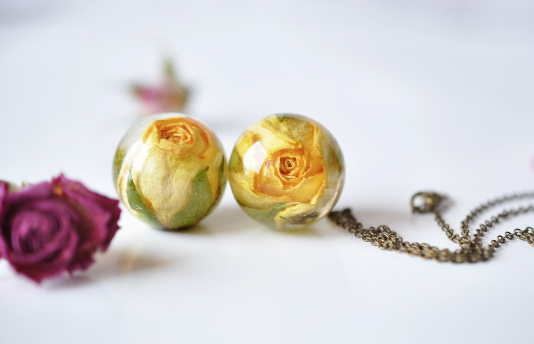 Yellow Rose Sphere Necklace