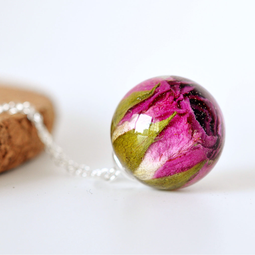 Dark Pink Rosebud Necklace
