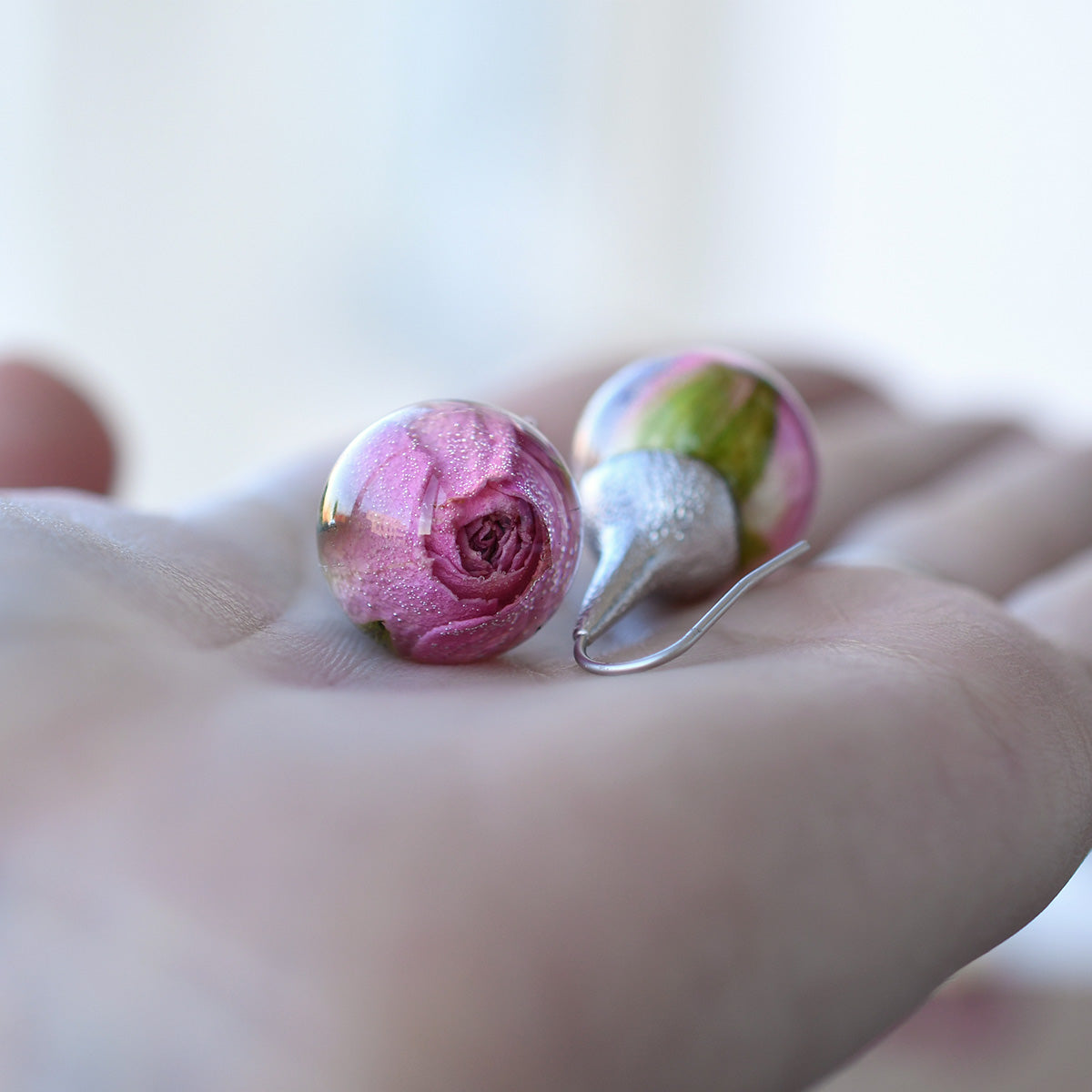 Real Pink Rose Earrings