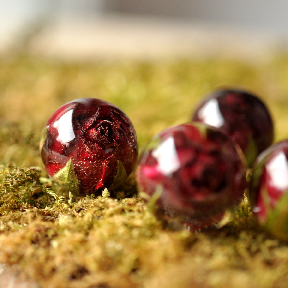 Dark Red Rosebud Necklace