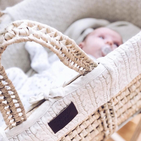 Little Green Sheep - Natural Knitted Moses Basket