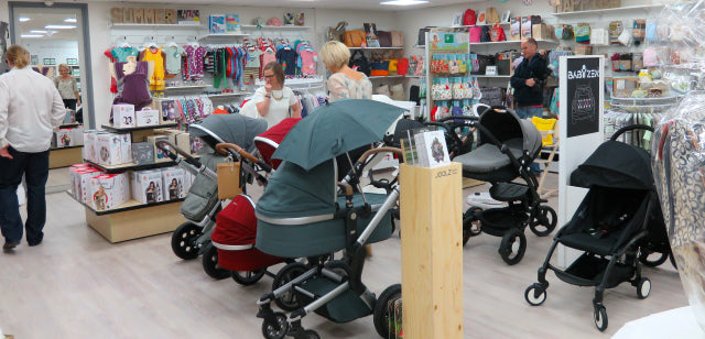 Plenty of space to sample the pushchairs, the car seats are coming soon!