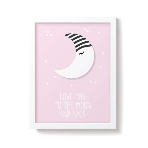 Snuz To The Moon & Back Nursery Print - Pink-Artwork & Stickers- Natural Baby Shower