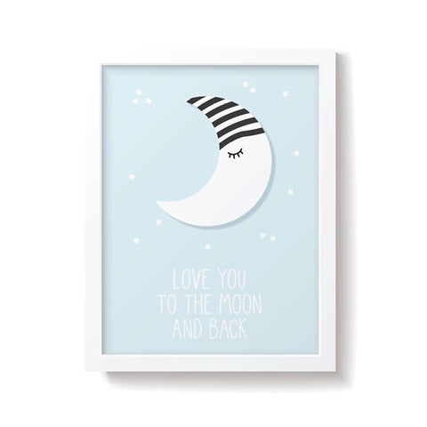Snuz To The Moon & Back Nursery Print - Blue-Nursery Accessories- Natural Baby Shower