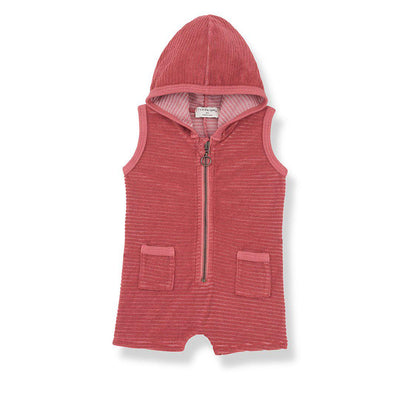 1+ in the family Nuoro Hood Overalls - Red-Rompers- Natural Baby Shower