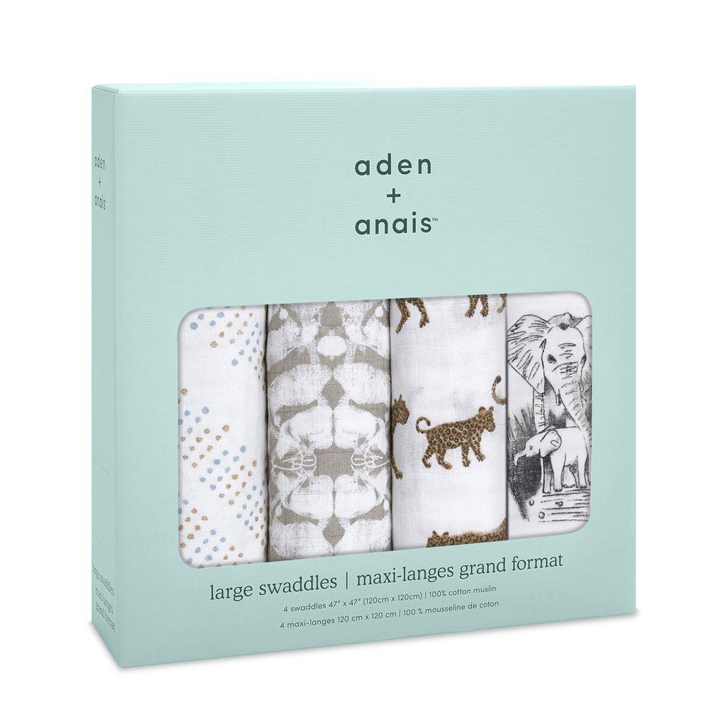 aden + anais Muslin Swaddles - Hear Me Roar - 4 Pack-Swaddling Wraps- Natural Baby Shower