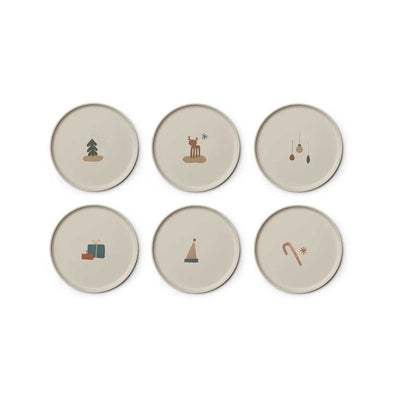Liewood Patrick Bamboo Plates - Holiday Mix - 6 Pack-Bowls & Plates- Natural Baby Shower