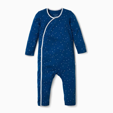 MORI Long Sleeve Kimono Sleepsuit - Night Sky-Rompers- Natural Baby Shower