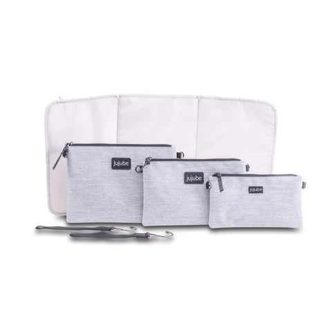 Ju-Ju-Be 4-in-1 Convertible Changing Bag Bundle - Glacier Grey-Changing Bags- Natural Baby Shower