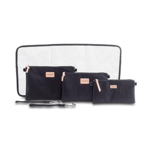 Ju-Ju-Be 4-in-1 Convertible Changing Bag Bundle - Black-Changing Bags- Natural Baby Shower