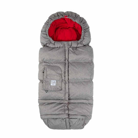 7AM Enfant Blanket 212 Evolution Footmuff - Heather Grey + Red