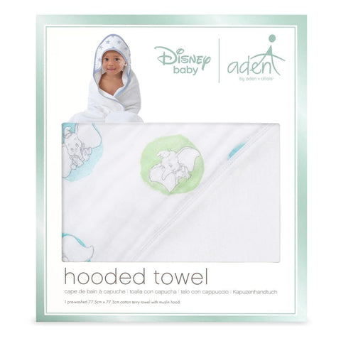 aden by aden + anais Hooded Baby Towel - Flying Dumbo-Towels & Robes-Flying Dumbo-One Size- Natural Baby Shower