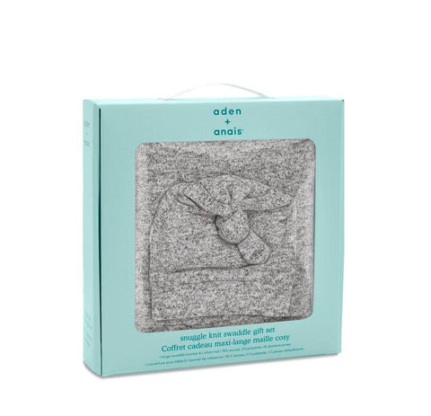 aden + anais Snuggle Knit Gift Set - Heather Grey-Gift Sets- Natural Baby Shower