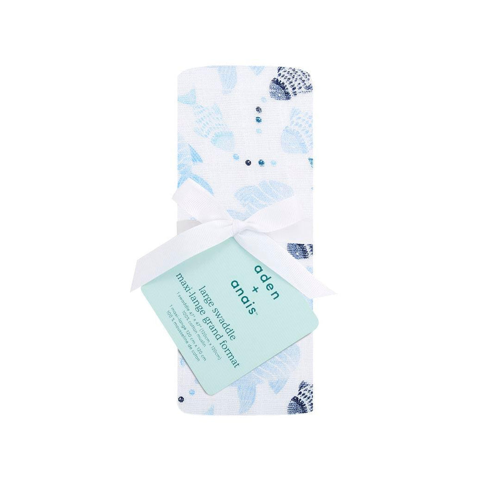 aden + anais Single Muslin Swaddle - Gone Fishing-Swaddling Wraps- Natural Baby Shower